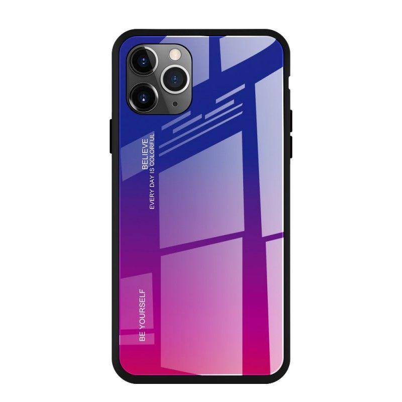 Husa iPhone 11 Pro Max - Gradient Glass, Albastru cu Violet  - 1