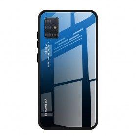 Husa Samsung Galaxy A51 - Gradient Glass, Albastru cu Negru  - 1