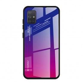 Husa Samsung Galaxy A71 - Gradient Glass, Albastru cu Violet  - 1