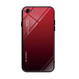 Husa iPhone 7 / 8 / SE 2 (2020) - Gradient Glass, Rosu cu Negru  - 1