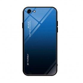 Husa iPhone 7 / 8 / SE 2 (2020) - Gradient Glass, Albastru cu Negru  - 1
