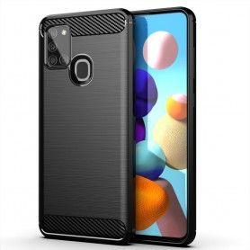 Husa Tpu Carbon Fibre pentru Samsung Galaxy A21s, Neagra  - 1