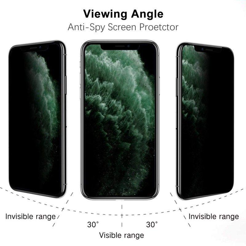 Folie protectie iPhone 11 / iPhone XR, sticla securizata, Privacy Anti Spionaj , Neagra - 2
