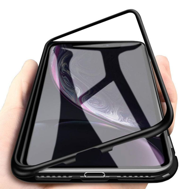Husa Xiaomi Redmi Note 8 Pro -  Magnetica cu bumper din aluminiu si spate din sticla  - 1