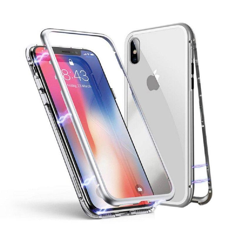 Husa Magnetica cu bumper din aluminiu si spate din sticla pentru iPhone XS Max