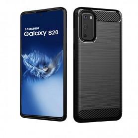 Husa Tpu Carbon Fibre pentru Samsung Galaxy S20, Neagra  - 1