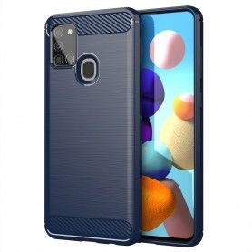 Husa Tpu Carbon Fibre pentru Samsung Galaxy A21s, Midnight Blue  - 1