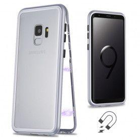 Husa Magnetica cu bumper din aluminiu si spate din sticla pentru Samsung Galaxy S9  - 3