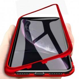 Husa Samsung Galaxy A20e - Magnetica cu bumper din aluminiu si spate din sticla  - 1