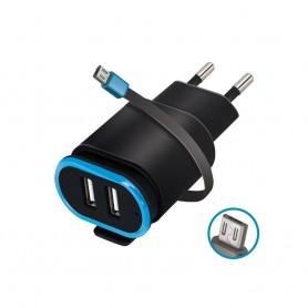 Incarcator Priza Retea, Forever TC-02, 2.4A Dual USB + cablu Micro Usb 20cm, Negru  - 1