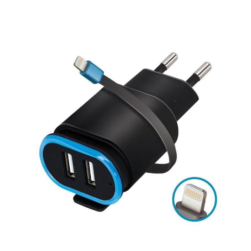 Incarcator Priza Retea, Forever TC-02, 2.4A Dual USB + cablu iPhone Lightning 20cm, Negru  - 1