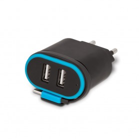 Incarcator Priza Retea, Forever TC-02, 2.4A Dual USB + cablu iPhone Lightning 20cm, Negru  - 3