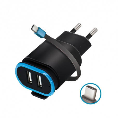 Incarcator Priza Retea, Forever TC-02, 2.4A Dual USB + cablu Usb Type-C 20cm, Negru la pret imbatabile de 43,99lei , intra pe PrimeShop.ro.ro si convinge-te singur