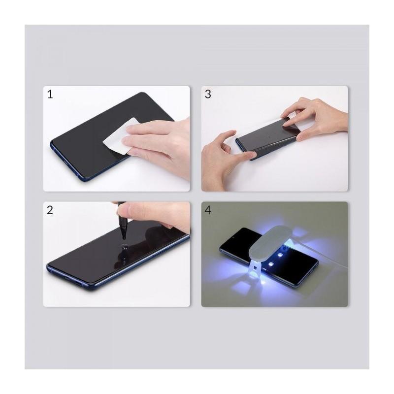 Folie Protectie Ecran din Sticla pentru Samsung Galaxy S20, UV Glue 9H Cu Lampa Si Adeziv Lichid - Clear - 2