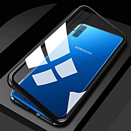 Husa Magnetica cu bumper din aluminiu si spate din sticla pentru Samsung Galaxy A9 (2018)