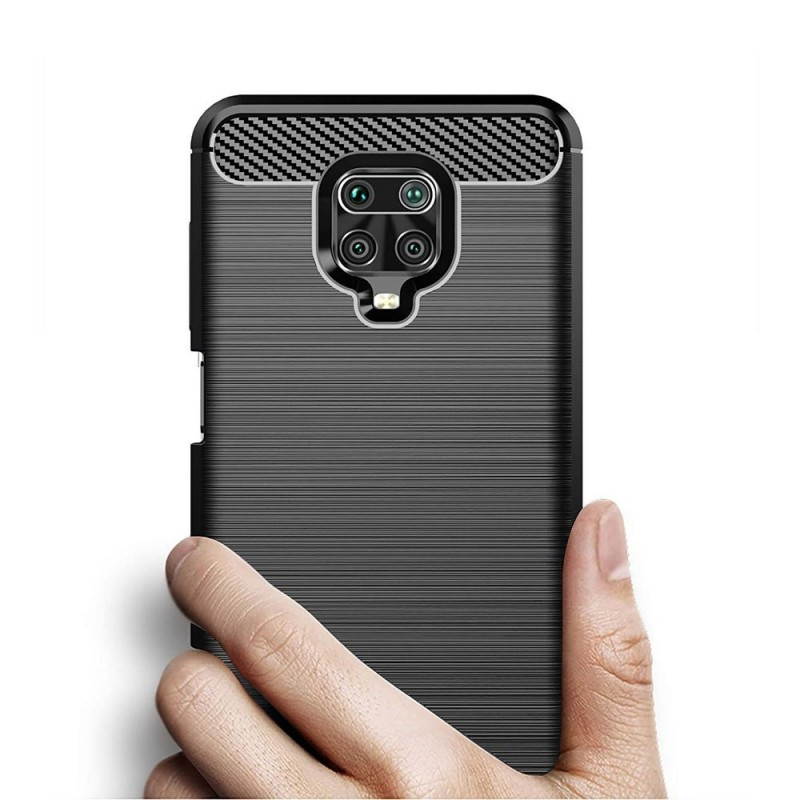 Husa Tpu Carbon Fibre pentru Xiaomi Redmi Note 9 Pro, Neagra