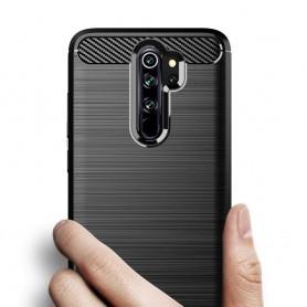 Husa Tpu Carbon Fibre pentru Xiaomi Redmi 9, Neagra  - 2