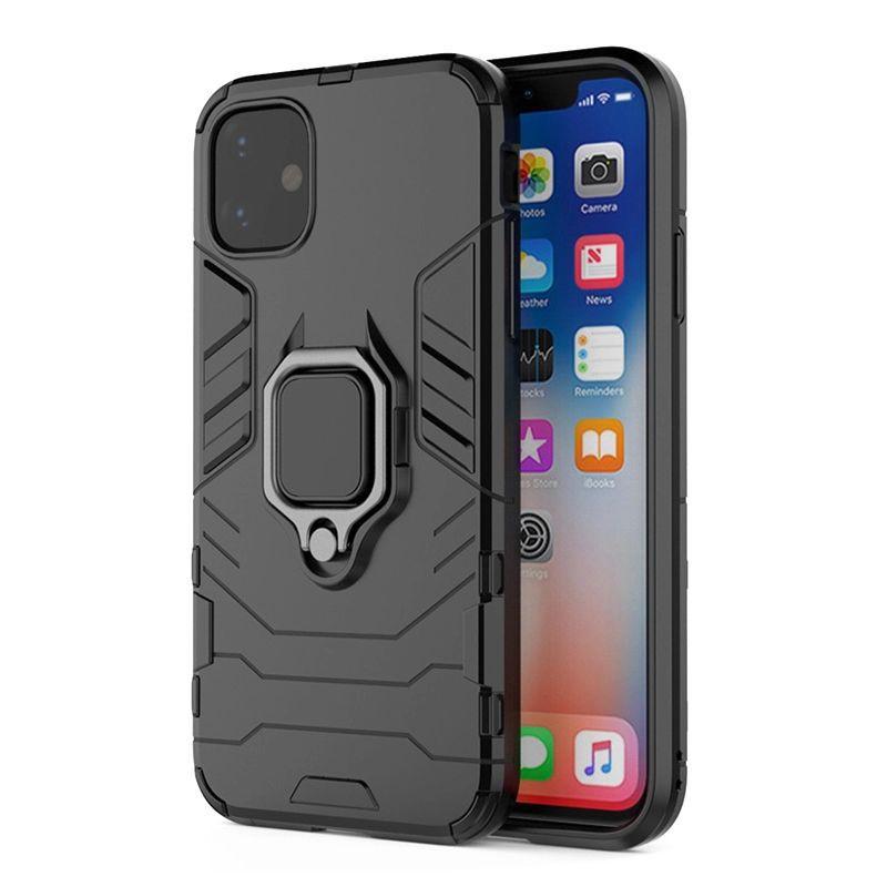 Husa iPhone 12 / iPhone 12 Pro - Armor Ring Hybrid, Neagra  - 1