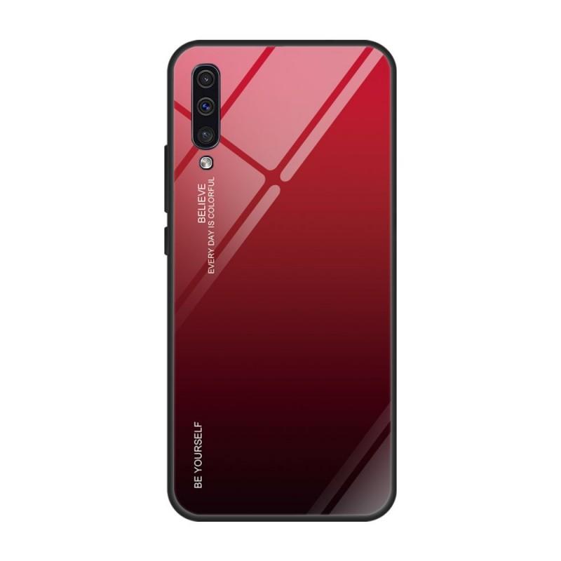Husa Samsung Galaxy A30s / A50 / A50s - Gradient Glass, Negru cu Rosu  - 1