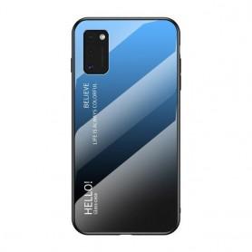 Husa Samsung Galaxy A41 - Gradient Glass, Albastru cu Negru  - 1