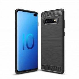 Husa Tpu Carbon Fibre pentru Samsung Galaxy S10, Neagra  - 1