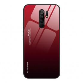 Husa Xiaomi Redmi 9 - Gradient Glass, Negru cu Rosu  - 1