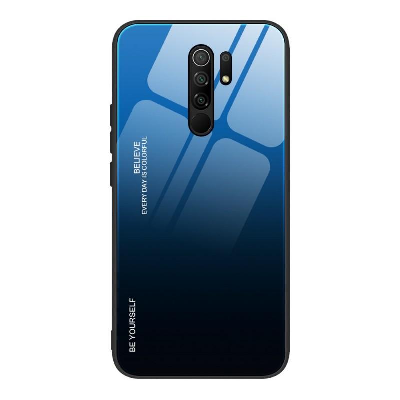 Husa Xiaomi Redmi 9 - Gradient Glass, Albastru cu Negru  - 1