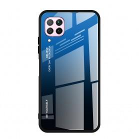Husa Huawei P40 Lite - Gradient Glass, Albastru cu Negru  - 1