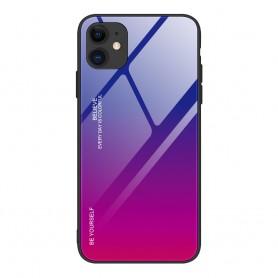 Husa iPhone 12 / iPhone 12 Pro - Gradient Glass, Albastru cu Violet  - 1