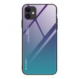 Husa iPhone 12 / iPhone 12 Pro - Gradient Glass, Albastru inchis cu Albastru deschis  - 1