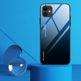 Husa iPhone 12 / iPhone 12 Pro - Gradient Glass, Albastru cu Negru  - 2