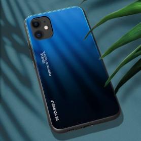 Husa iPhone 12 / iPhone 12 Pro - Gradient Glass, Albastru cu Negru  - 3