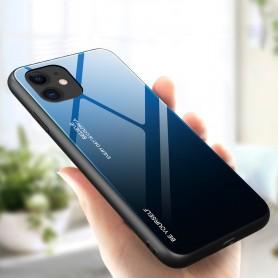 Husa iPhone 12 / iPhone 12 Pro - Gradient Glass, Albastru cu Negru  - 4