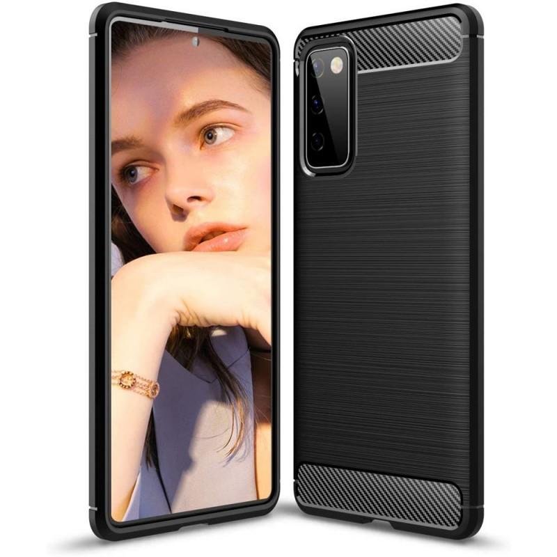 Husa Tpu Carbon Fibre pentru Samsung Galaxy S20 FE / Galaxy S20 FE 5G, Neagra