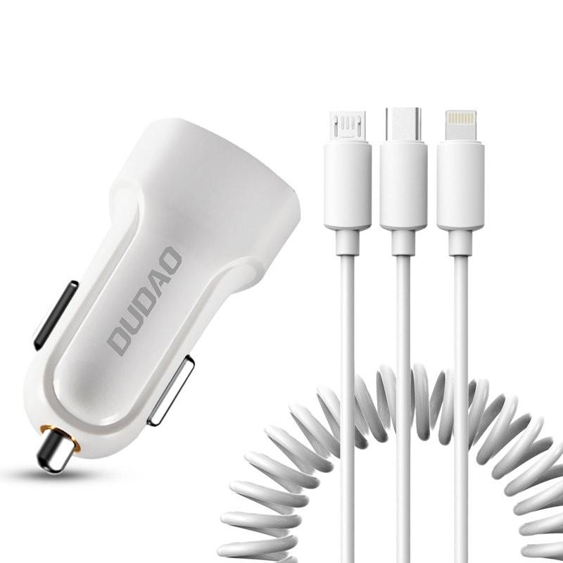 Incarcator Auto Dudao R7 Kit 2x USB 2.4A + Cablu de Incarcare 3 in 1 Lightning-Type-C-Micro-USB , Alb