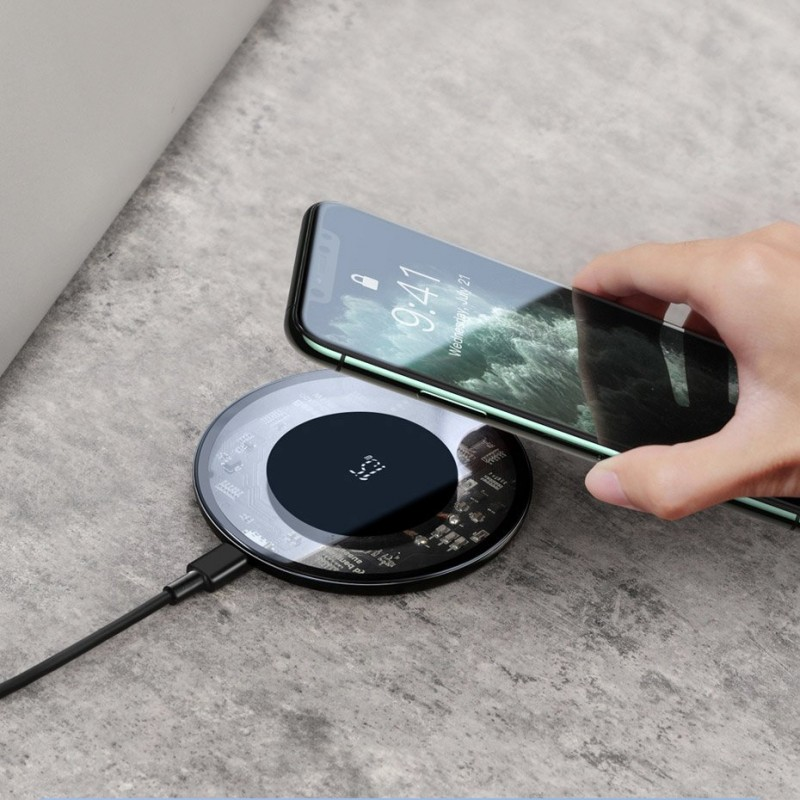 Incarcator Wireless Universal Inductie Baseus Wireless Simple 15W, Transparent - 2