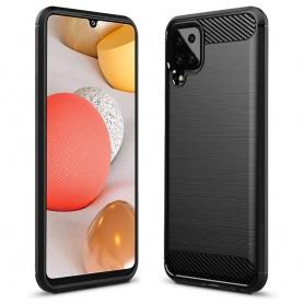 Husa Tpu Carbon Fibre pentru Samsung Galaxy A12, Neagra  - 1