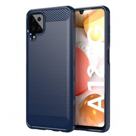 Husa Tpu Carbon Fibre pentru Samsung Galaxy A12, Midnight Blue  - 1