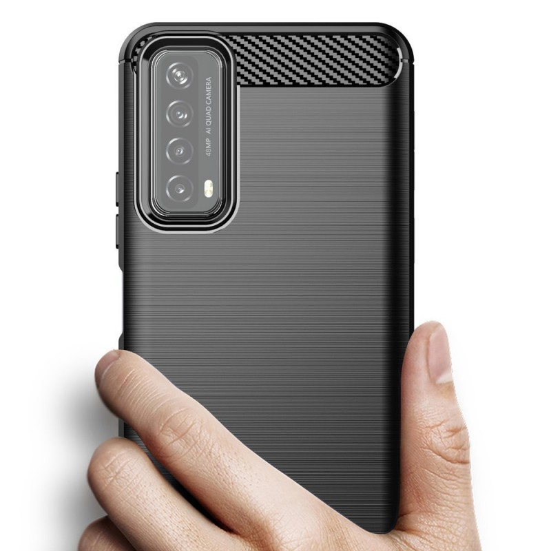 Husa Tpu Carbon Fibre pentru Huawei P Smart (2021), Neagra
