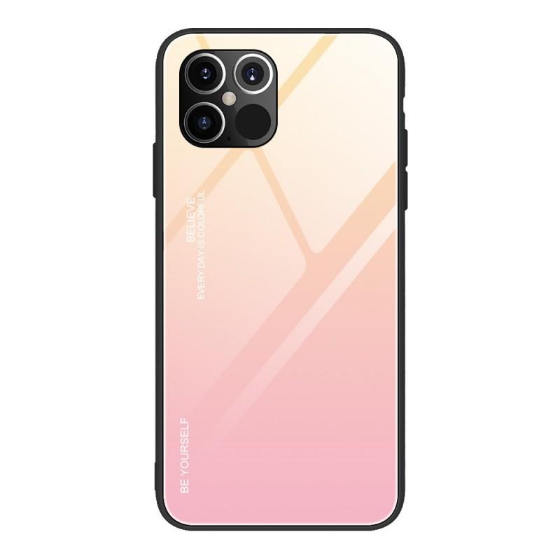 Husa iPhone 12 Pro Max - Gradient Glass, Galben cu Roz  - 1