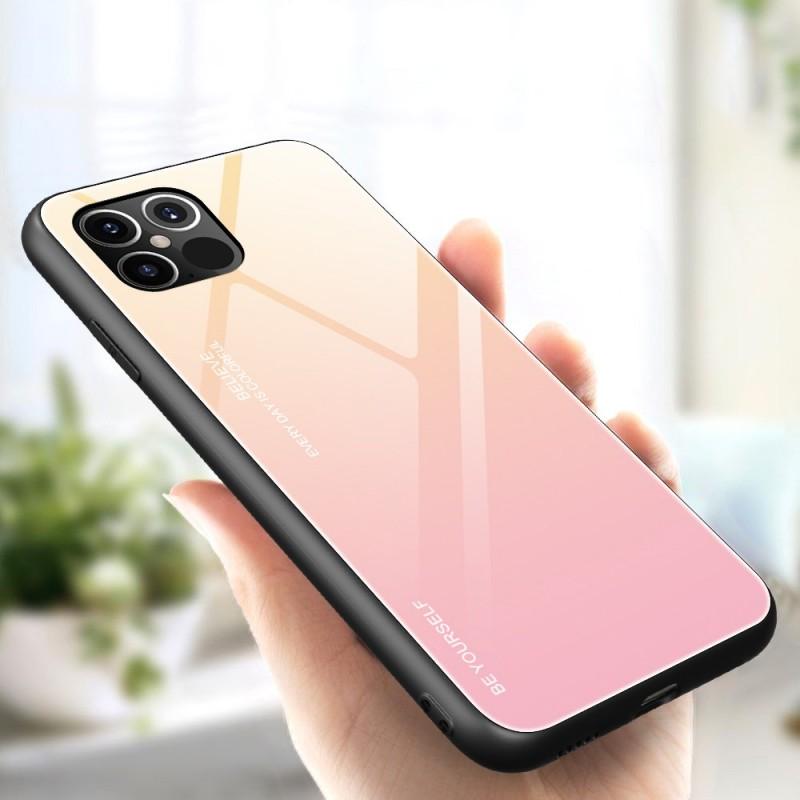 Husa iPhone 12 Pro Max - Gradient Glass, Galben cu Roz - 2