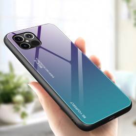 Husa iPhone 12 Pro Max - Gradient Glass, Albastru inchis cu Albastru deschis  - 3