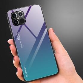 Husa iPhone 12 Pro Max - Gradient Glass, Albastru inchis cu Albastru deschis  - 4