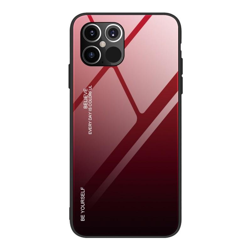 Husa iPhone 12 Pro Max - Gradient Glass, Negru cu Rosu  - 1
