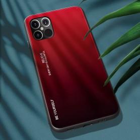 Husa iPhone 12 Pro Max - Gradient Glass, Negru cu Rosu  - 2