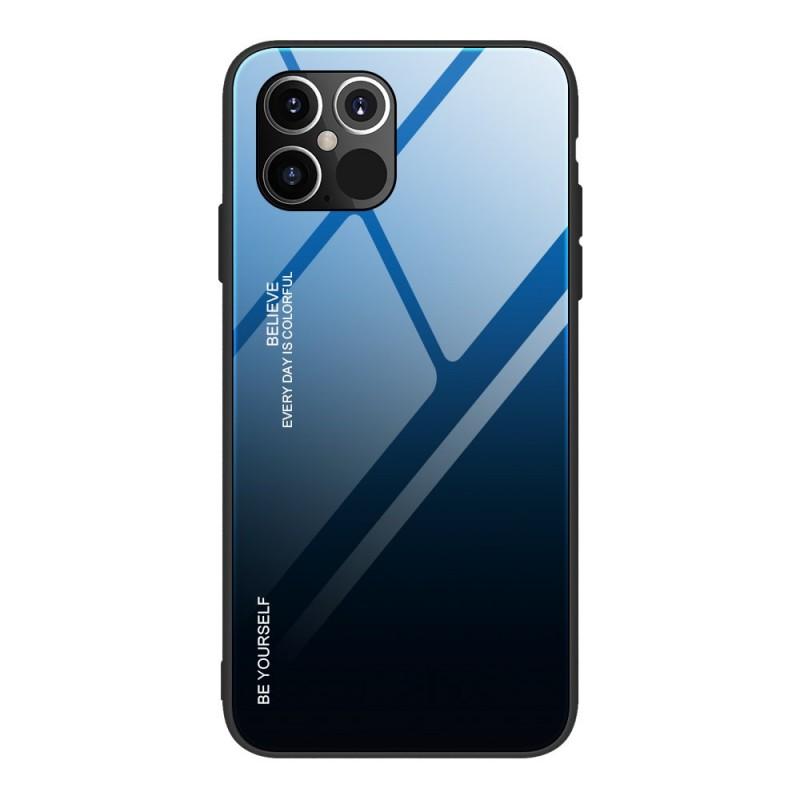 Husa iPhone 12 Pro Max - Gradient Glass, Albastru cu Negru