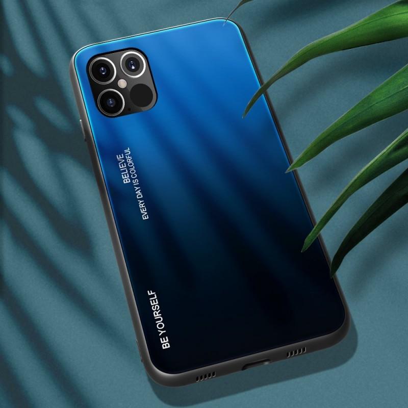 Husa iPhone 12 Pro Max - Gradient Glass, Albastru cu Negru - 2