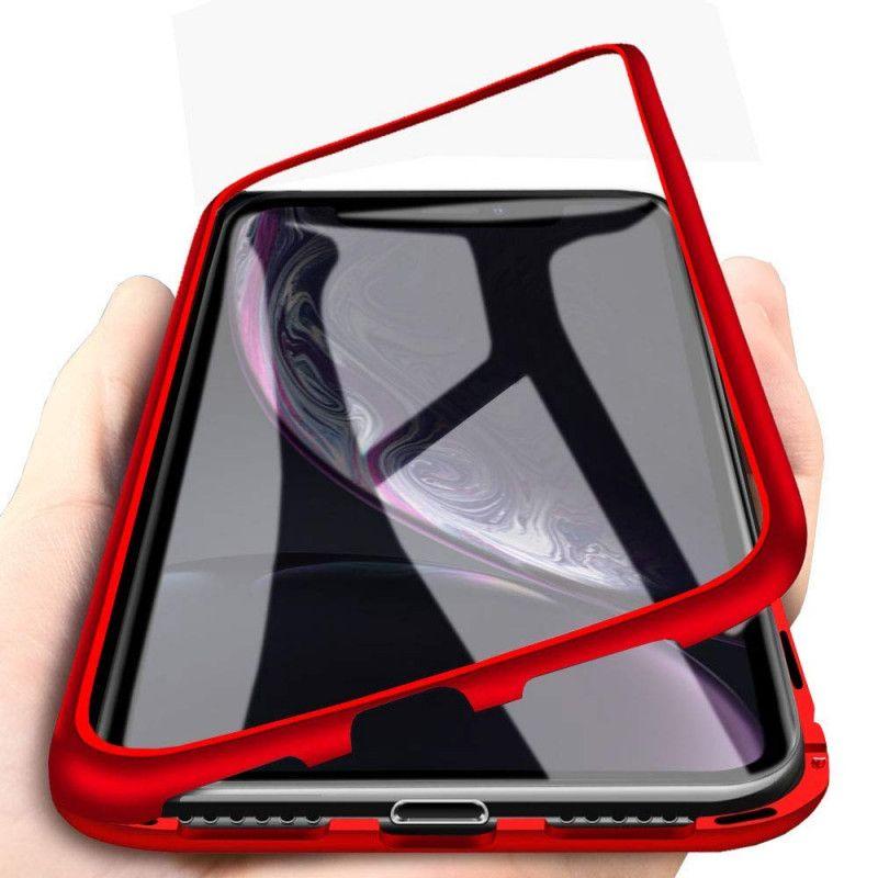Husa Magnetica cu bumper din aluminiu si spate din sticla pentru iPhone X / XS - 2