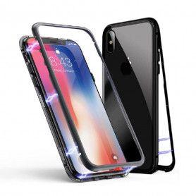 Husa Magnetica cu bumper din aluminiu si spate din sticla pentru iPhone X / XS