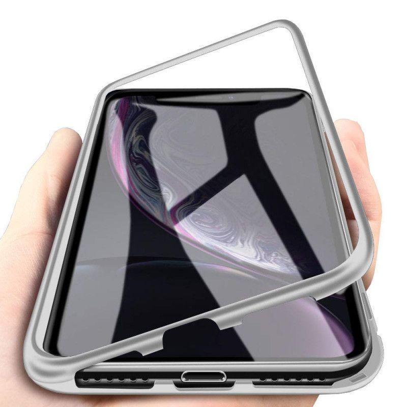 Husa Magnetica cu bumper din aluminiu si spate din sticla pentru iPhone XR - 2